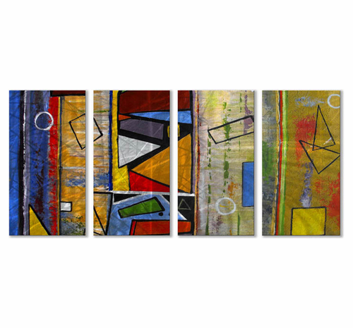 Reggae Beat Four-Panel Abstract Metal Wall Hanging