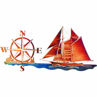 Sailboat with Compass Metal Wall Hanging