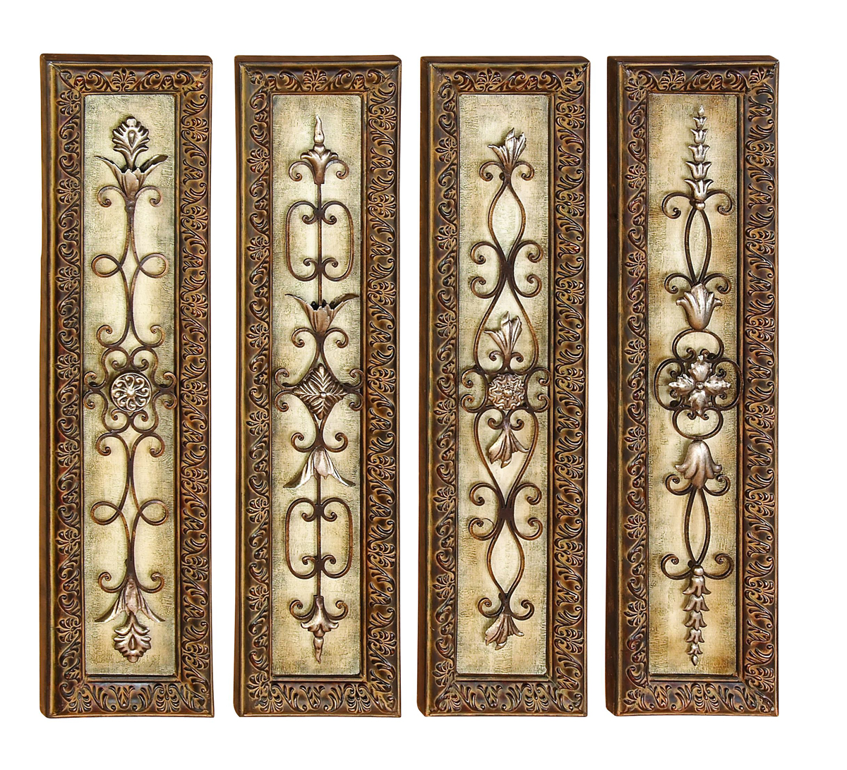 Wall Art Metal Panels : Scrolls of elegance wall panels set