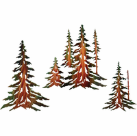 Stand of Pine Trees Metal Wall Art Set of 3
