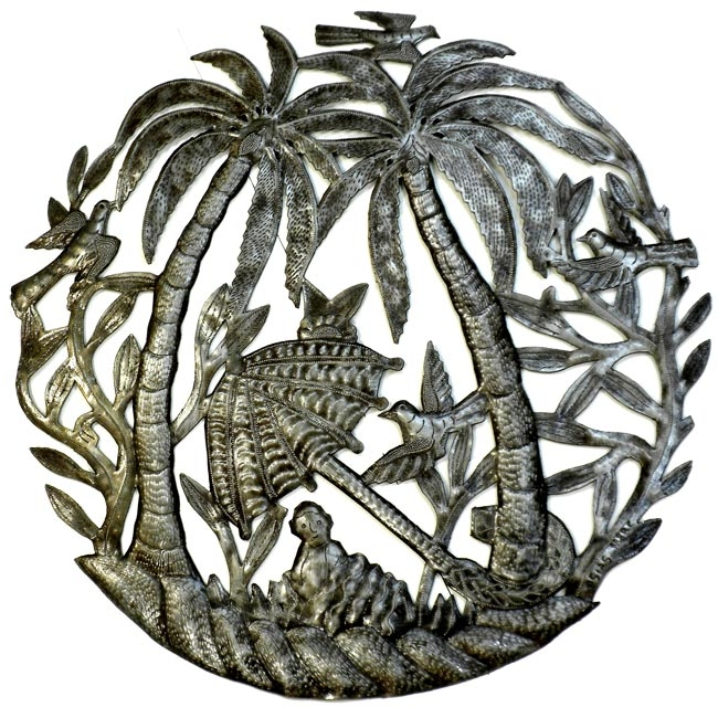 Stranded on tropical island metal wall art for Tropical metal wall art