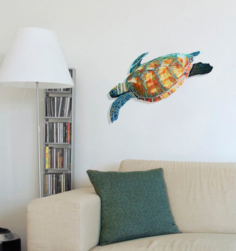 New Swimming Sea Turtle - Hanging Metal Wall Art JS48