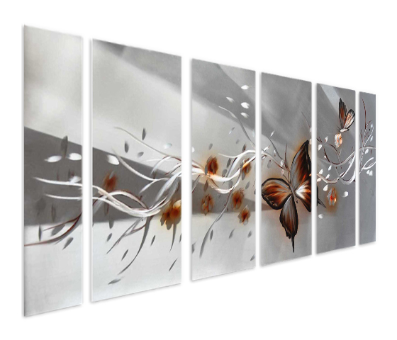 vines and butterflies metal wall art set of 6. Black Bedroom Furniture Sets. Home Design Ideas
