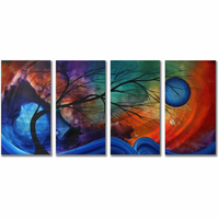 Waxing Blue Moon Trees Metal Wall Hanging Set of 4