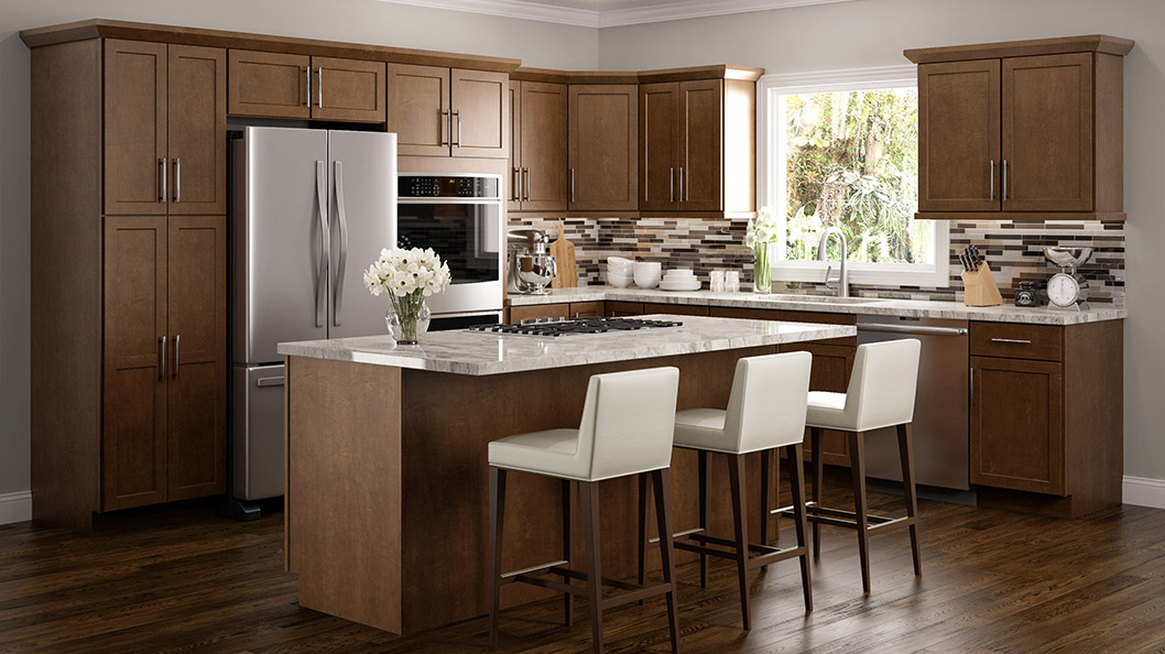 Amesbury Brown Kitchen Cabinets