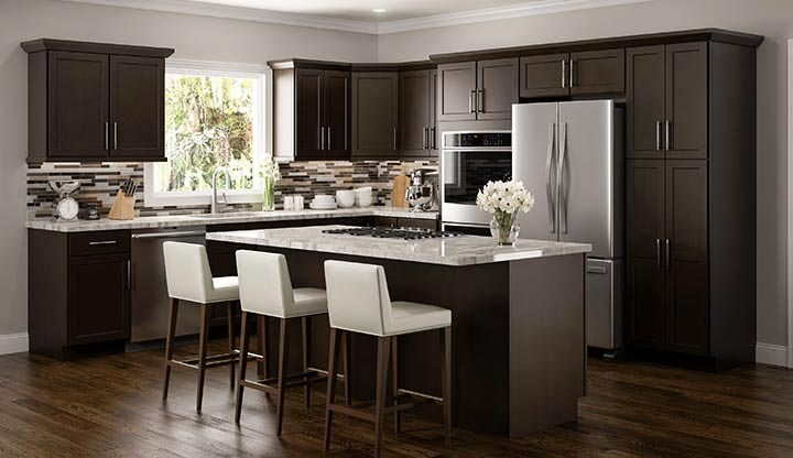 Amesbury espresso kitchen cabinets for Kitchen designs espresso cabinets