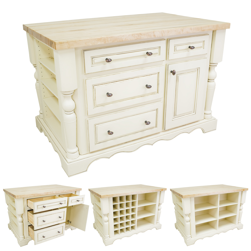 Antique White Kitchen Island with Drawers-ISL02-AWH