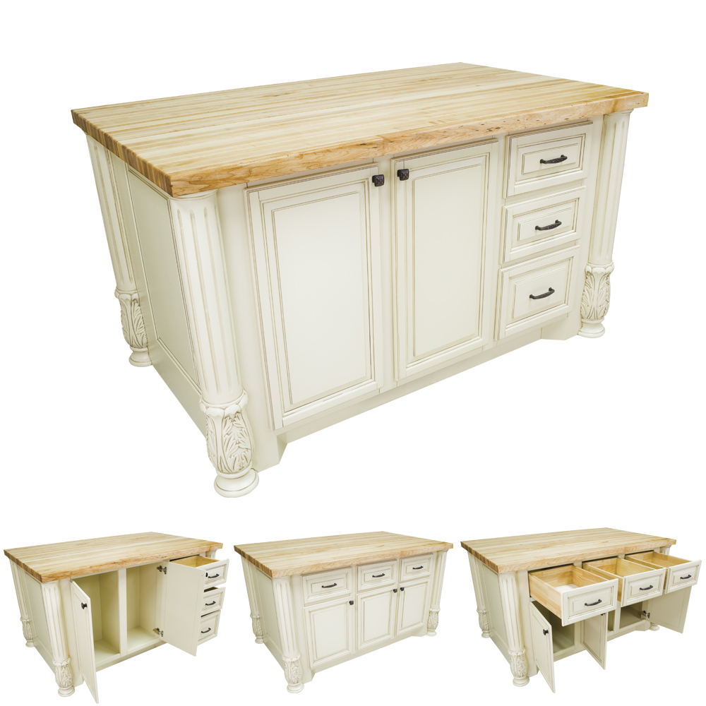 Antique white kitchen island with smaller drawers isl05 awh for Antique kitchen island