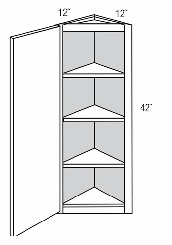 Aw42 angled wall corner cabinet yarmouth recessed rta for Angled corner kitchen cabinets