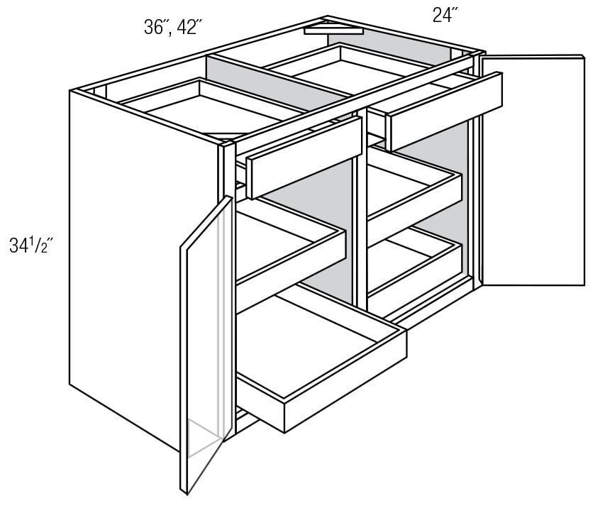 Base Cabinet with Roll Out Shelves: Trenton RTA Kitchen Cabinet