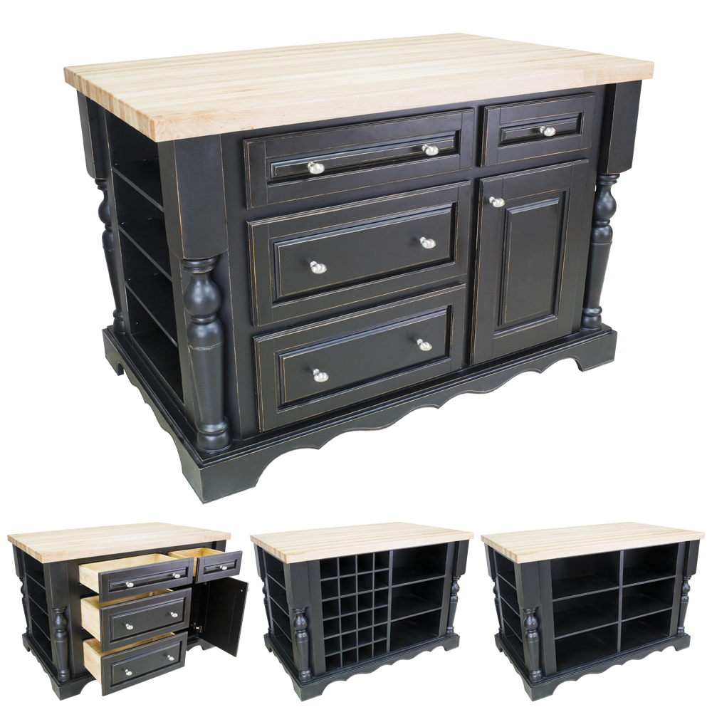 Distressed black kitchen island with drawers isl02 dbk for Kitchen drawers