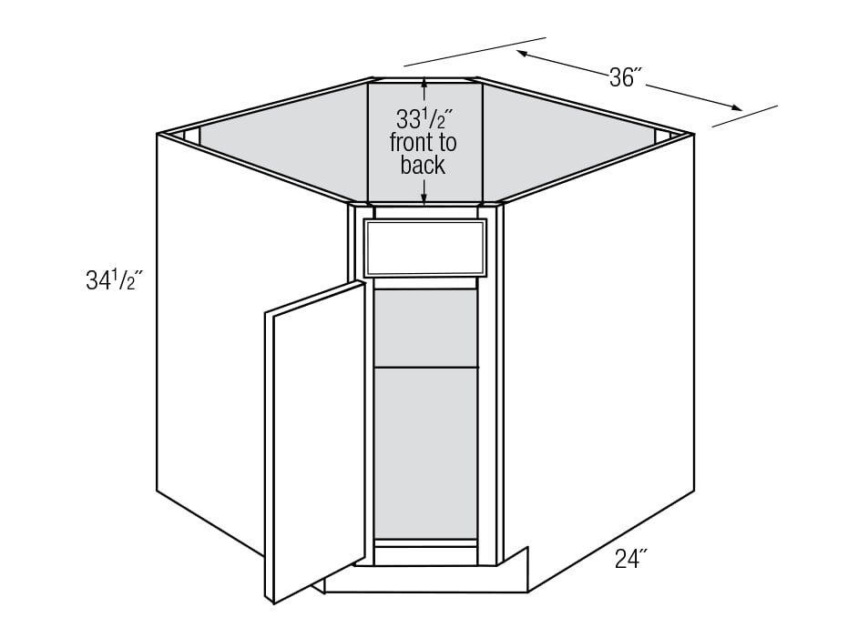 DSB36: Corner Sink Base: Dover RTA Kitchen Cabinet