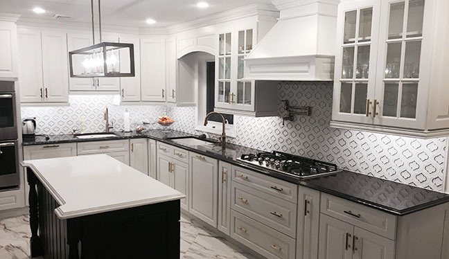Grey Cabinets In White Kitchen