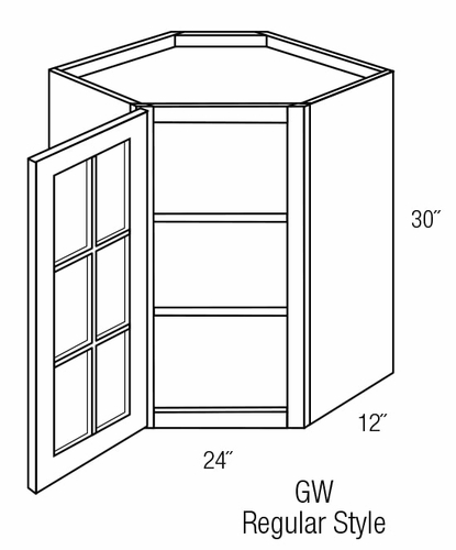 GWDC2430: Diagonal Wall Cabinet With Glass Door: Branford