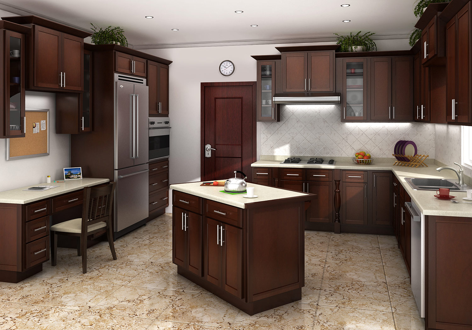 Mocha shaker kitchen cabinets for Shaker kitchen cabinets