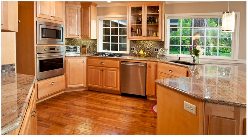 honey shaker kitchen cabinets oak update with dark wood floors
