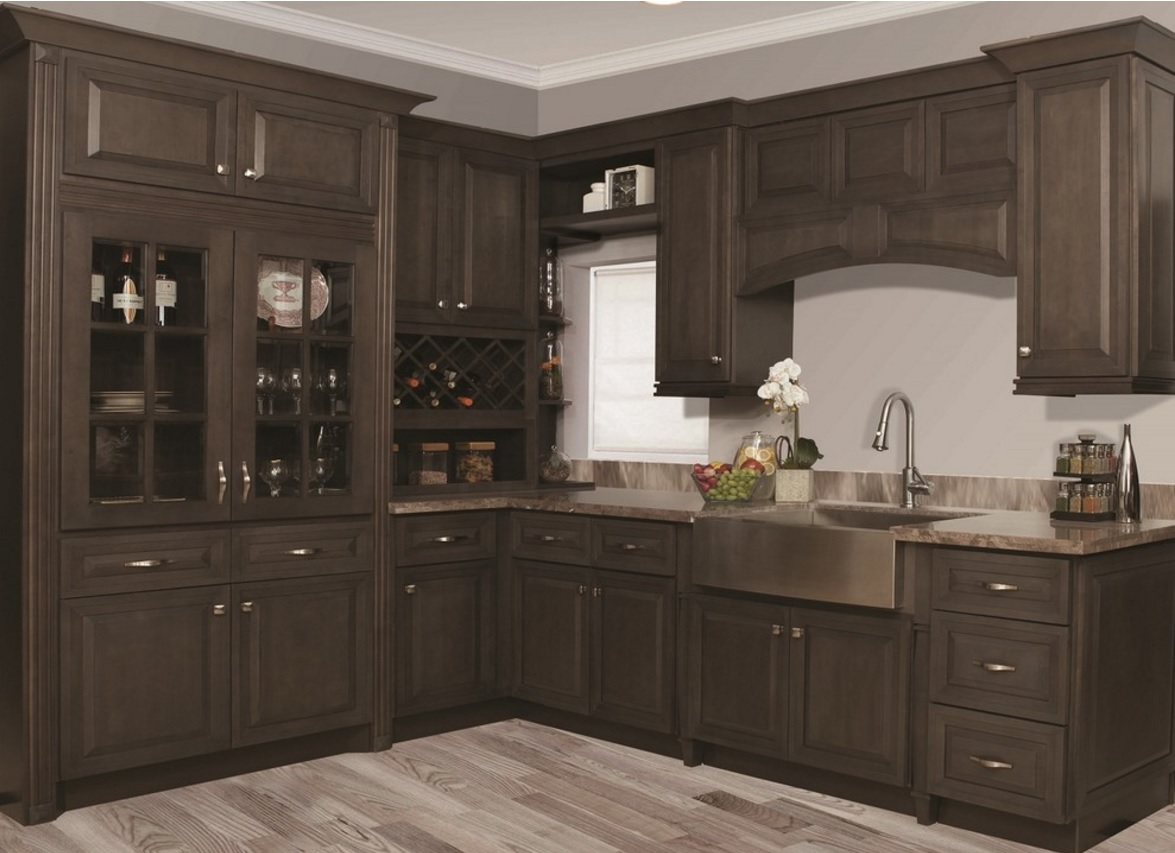 Kitchen cabinets gray stain for Grey wood kitchen cabinets