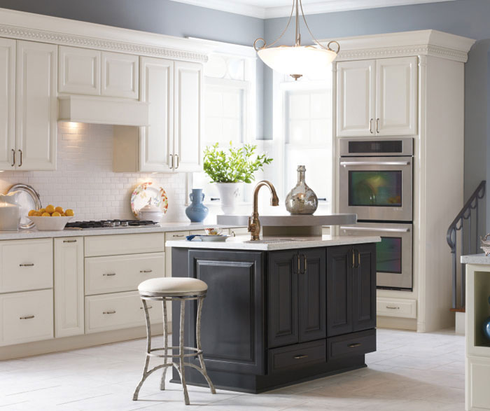 Sullivan Cherry Kitchen Cabinets - Grey and cream kitchen cabinets