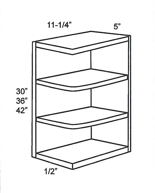 WES542-Specialty Cabinets:Wall-End-Shelf-Cabinet:Mocha