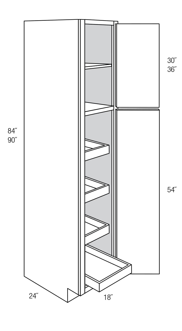WP1884RT: Pantry Cabinet With Roll Out Shelves: Wheaton RTA Kitchen Cabinet
