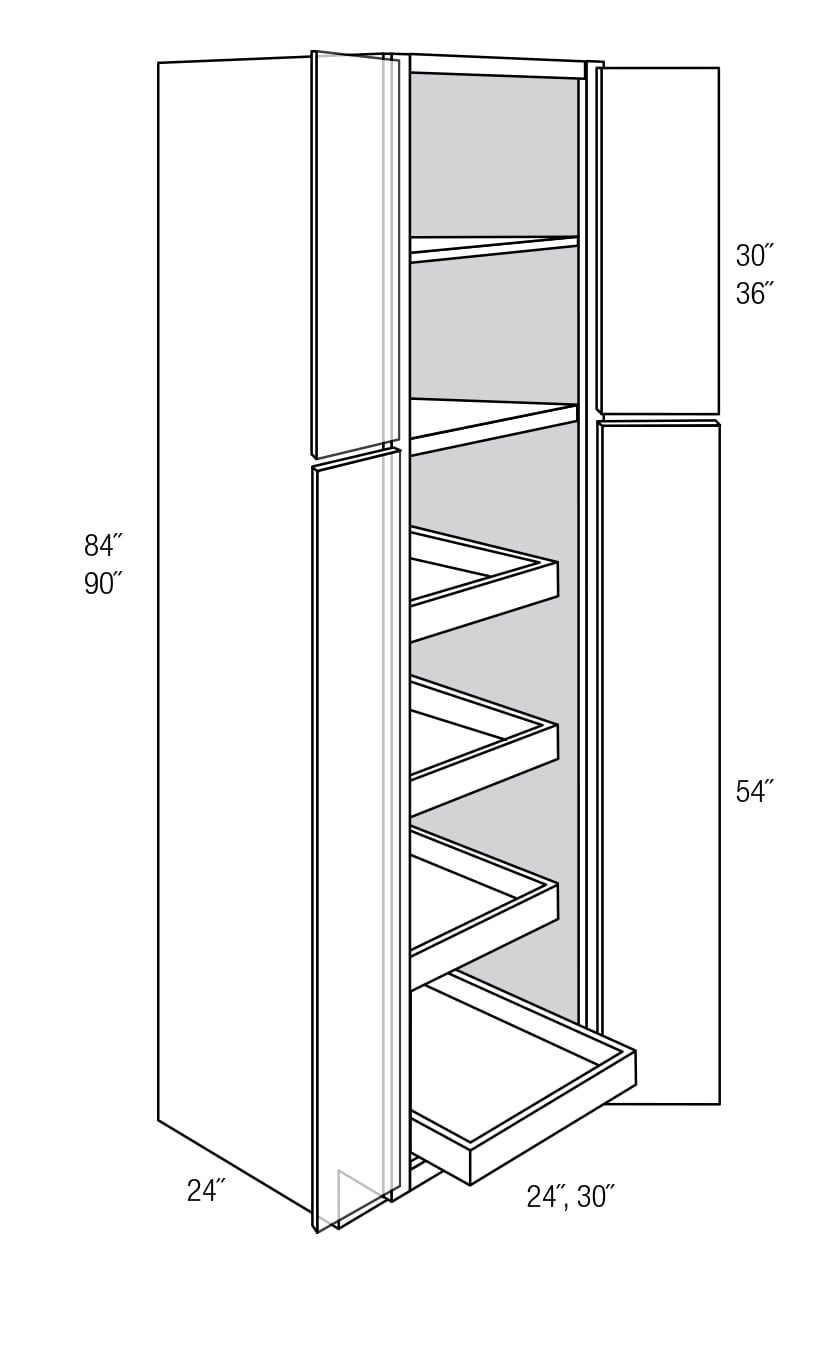 WP2484BRT: Pantry Cabinet W/ Roll Out Shelves: Plymouth RTA Kitchen Cabinet