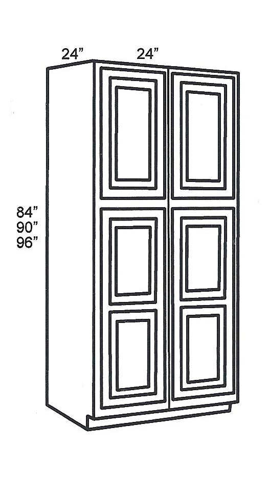 WP2484B Tall Cabinets:Pantry Cabinet:Classic White Shaker Kitchen Cabinet