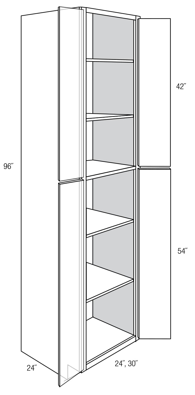 WP2496B: Tall Cabinets: Pantry Cabinet: Plymouth RTA