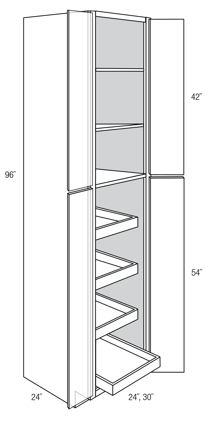WP3096BRT: Pantry Cabinet With Roll Out Shelves: Dover RTA Kitchen Cabinet