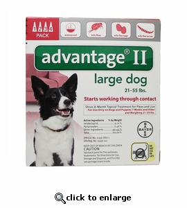 12 MONTH Advantage II Flea Control for Dogs 21-55 lbs