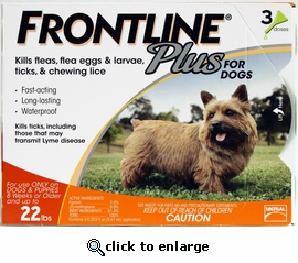 12 month Frontline PLUS for Dogs Up to 22lbs