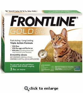 3 month Frontline Gold for Cats 3lbs. or more