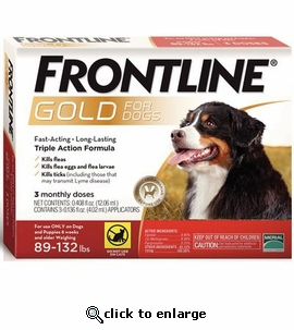 3 Month Frontline Gold for Dogs 89-132 lbs.