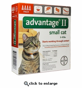4 MONTH Advantage II Flea Control for Cats Under 9 lbs
