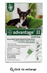 4 MONTH Advantage II Flea Control for Dogs Under 10 lbs