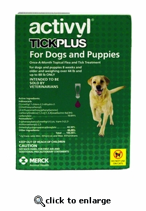 Activyl Tick Plus for Dogs 44-88 lbs 6 Pack