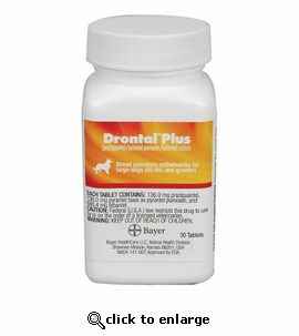 Drontal Plus for Dogs 136 mg (large) per tablet