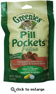 Feline Greenies Pill Pocket- Salmon (1.6 oz) 45 ct
