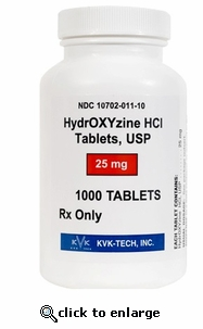 Hydroxyzine HCl 25 mg per tablet