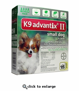K9 ADVANTIX II Green for dogs up to 10 lbs 4 Pack