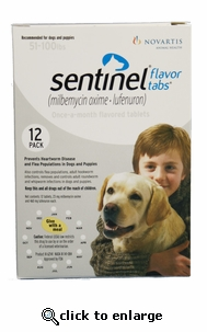 Sentinel White 12 MONTH for  Dogs and Puppies 51-100 lbs