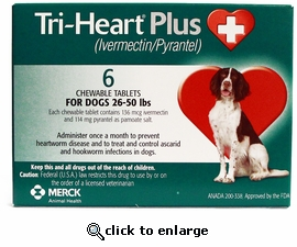Tri-Heart Plus For Dogs 26-50lbs 6 Month Supply
