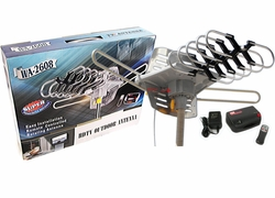 Amplified HD Digital Outdoor HDTV Antenna with Motorized 360 Degree Rotation, UHF/VHF/FM Radio with Infrared Remote Control - WA-2608