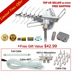 [FREE Installation Kit $42.99 value] 150 mile range LAVA HD2605 4K Ultra Remote Controlled HDTV Antenna with G3 Control Box