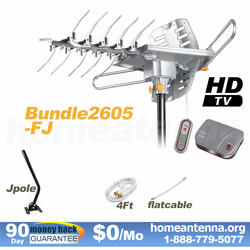 HD-2605 Ultra Outdoor TV Antenna + Flat Cable + J-Pole Bundle Package
