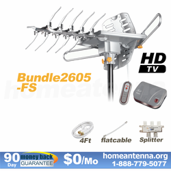 HD-2605 Ultra Outdoor TV Antenna + FlatCable + Splitter Bundle Package