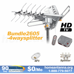 HD-2605 Ultra Outdoor TV Antenna with 4-Way Splitter Package