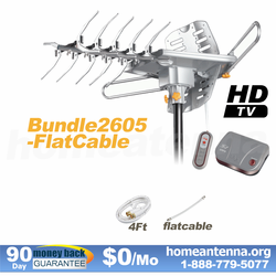 HD-2605 Ultra Outdoor TV Antenna with Flat Cable Package