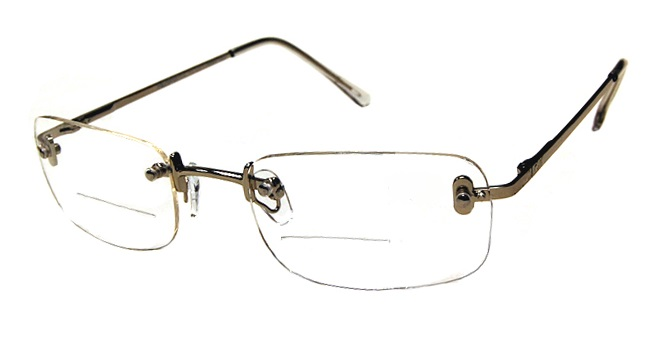 Contemporary Rimless Clear Bifocal with Gold Frame - Clear Bifocals ...