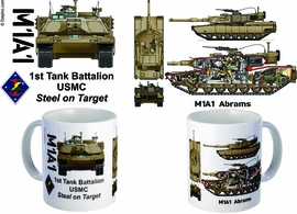 "1st Tank Battalion ""Steel On Target"" M1A1 mug"