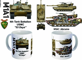 "4th Tank Battalion ""53 Days"" M1A1 Mug"